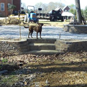 Retaining wall steps and firepit
